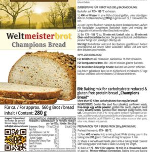 Weltmeisterbrot low carb glutenfrei Brot Backmischung Paleo