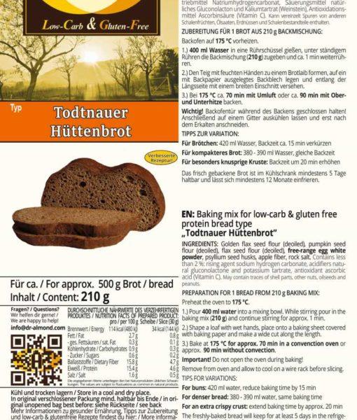 Todtnauer Hüttenbrot Pfälzer landbrot low-carb glutenfrei sojafrei paleo eiweissbrot backmischung nussfrei