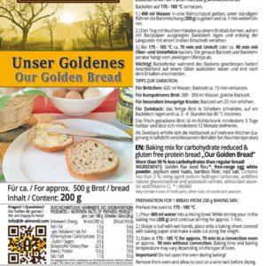 Unser Goldenes low carb glutenfrei Eiweissbrot Backmischung Brot backen