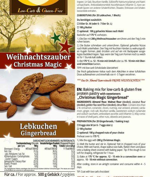 Weihnachtszauber Lebkuchen Backmischung low-carb glutenfrei paleo sojafrei Weihnachtsplätzchen Weihnachtskekse
