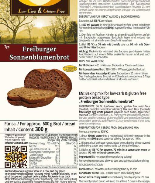 Freiburger Sonnenblumenbrot low carb glutenfrei sojafrei paleo Eiweissbrot Backmischung keto Brot