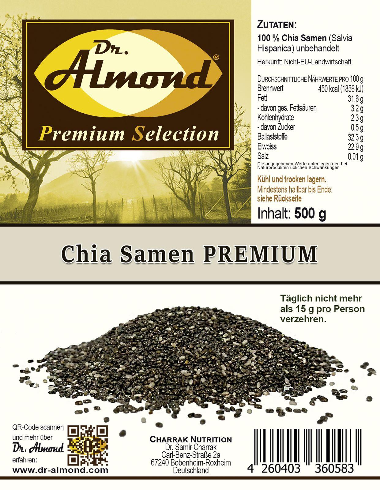 chia samen premium 500 g dr almond lowcarb glutenfrei. Black Bedroom Furniture Sets. Home Design Ideas
