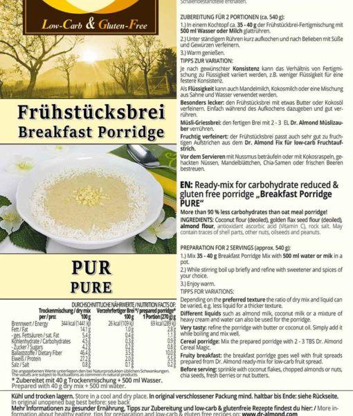 Frühstücksbrei Porridge Oatmeal kalorienarm low carb glutenfrei sättigend
