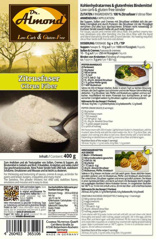 Zitrusfaser low-carb Bindemittel Mehlschwitze Saucenbinder Soßenbinder glutenfreier Stärkeersatz