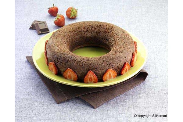 Silikomart SFT205 Silikonform Runde Kuchenform Bavarese 24 cm mit Sicherheitsring für Marmorkuchen, Frankfurter Kranz