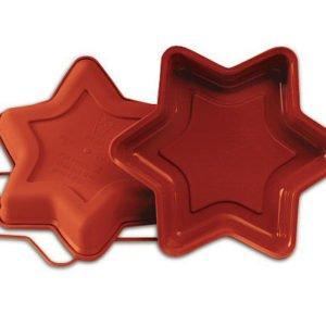 Silikomart SFT205 Silikonform STERN Kuchenform 26 cm mit Sicherheitsring für Marmorkuchen