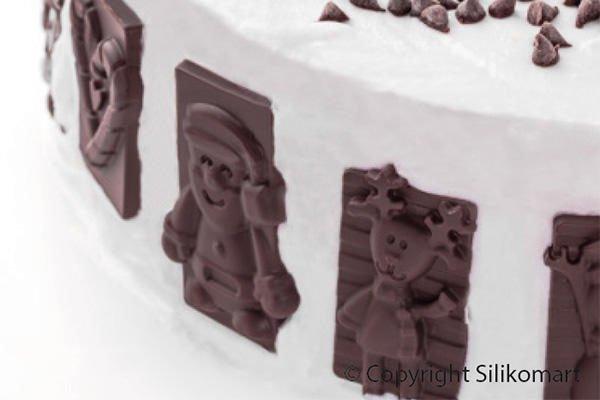 Silikomart SF146 Silikonform XMAS Weihnachten Keksform Schokoladenform Pralinenfür 16 Stück 59x29x6,8mm