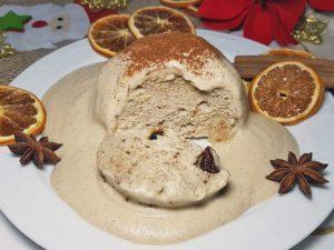 Rezept low-carb glutenfreie Germknödel Weihnachtsstollen Christstollen mit Zimt-Rum-Sauce
