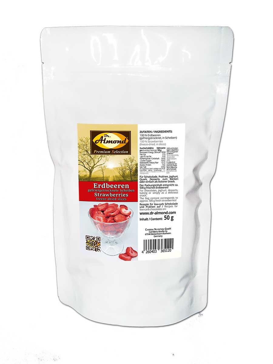 erdbeeren gefriergetrocknete scheiben 50 g 100 frucht f r low carb schokolade m sli und als. Black Bedroom Furniture Sets. Home Design Ideas