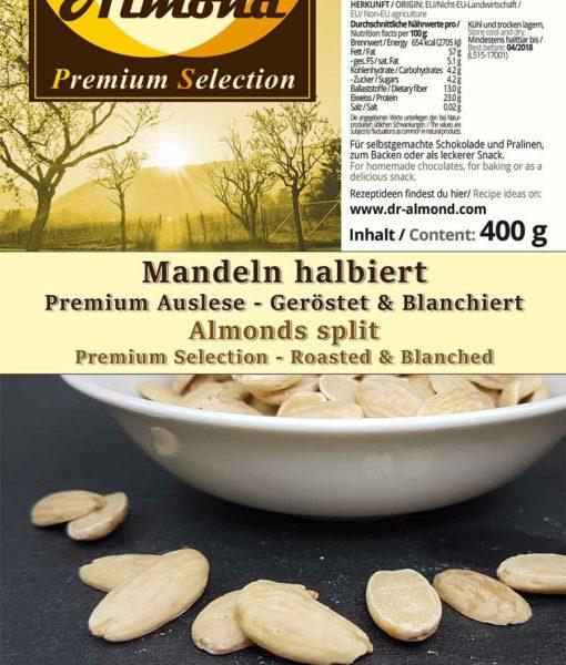 Mandeln halbiert geröstet PREMIUM AUSLESE low-carb Snack Konfiseriequalität