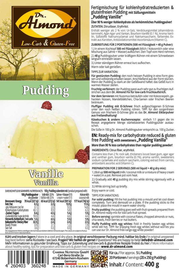 Pudding low carb glutenfrei Vanillepudding zuckerfrei stärkefrei ohne stärke Puddingpulver