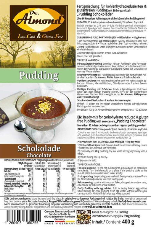 Pudding low carb glutenfrei Schokoladenpudding zuckerfrei stärkefrei ohne stärke Puddingpulver