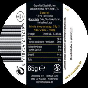 Cheesepop EMMENTALER - 100 % Käse, ohne Zusätze, keto & low carb - 65 g