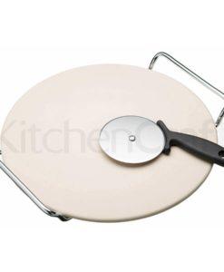 KitchenCraft Italienischer Pizzastein 32 cm SET mit Pizzaschneider und Gestell