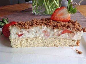 Rezept Joghurt Quark Torte mit Erdbeeren lowcarb glutenfrei