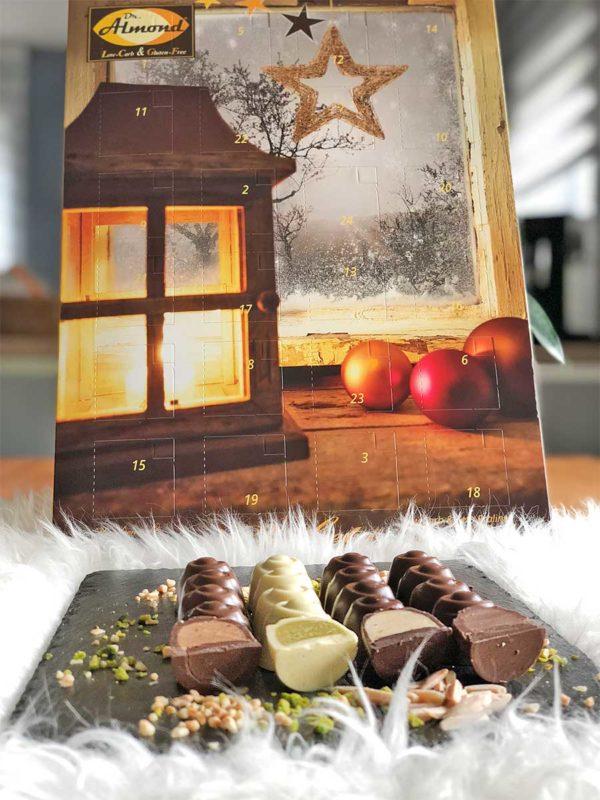 CHOKETO lowcarb Adventskalender - 24 low carb Pralinen - Schokolade und Füllungen ohne Zuckerzusatz - keto