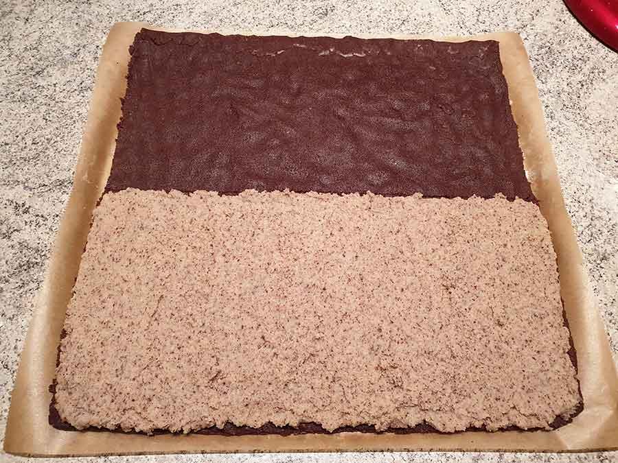 Kakaoschnitten-mit-Haselnussfuellung low carb glutenfrei Nussfix Nusskuchen