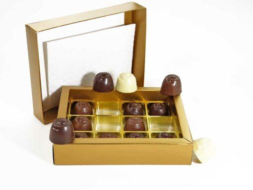 Choketo Low Carb & Keto Pralinés Großpackung mit 12 gefüllten, handgemachten Pralinen - Schokolade & Füllungen ohne Zuckerzusatz – xylitfrei