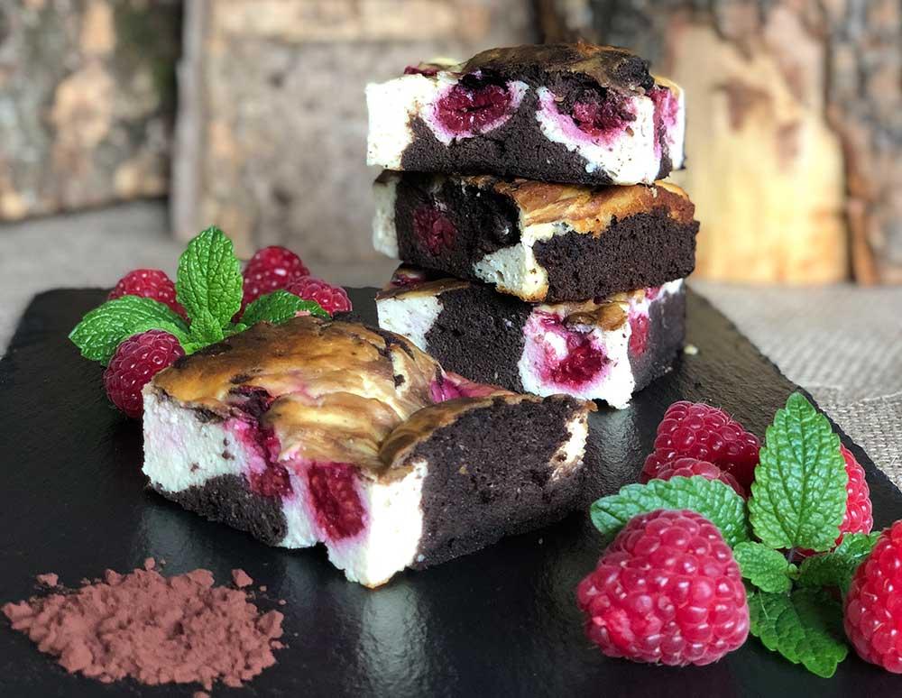 Rezept Cheesecake-Brownies mit Himbeeren lowcarb glutenfrei