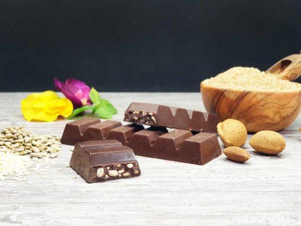 Low Carb Schokolade Schokoladenriegel Müsliriegel zuckerfrei keto maltitfrei xylitfrei Diabetikergeeignet