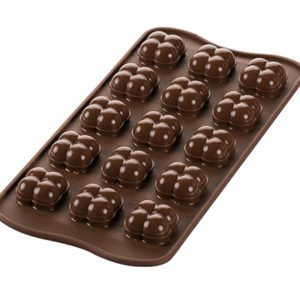 Silikomart CHOCO GAME Silikonform 3D Pralinenform | 15 x 8 ml | Spezialrand für Hohlkugel-Abrundung