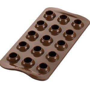 Silikomart TARTUFINO Silikonform 3D Pralinenform für Kugeln   15 x 8 ml   Spezialrand für Hohlkugel-Abrundung