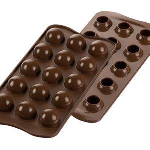 Silikomart TARTUFINO Silikonform 3D Pralinenform für Kugeln | 15 x 8 ml | Spezialrand für Hohlkugel-Abrundung