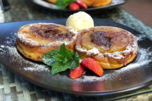 Rezept Ananas-Pancake-Dessert mit Nougatkern lowcarb
