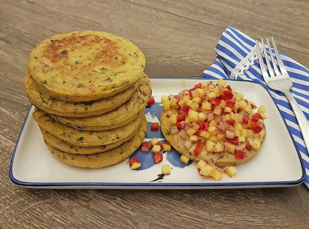 Rezept Zucchini Pancakes mit Mango – Salsa lowcarb glutenfrei