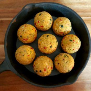 Rezept Backrohr Gemüse Knödel mit Minzejoghurt lowcarb glutenfrei
