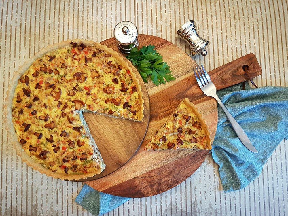 Rezept Pilzquiche mit Pfifferlingen Eierschwammerl lowcarb glutenfrei