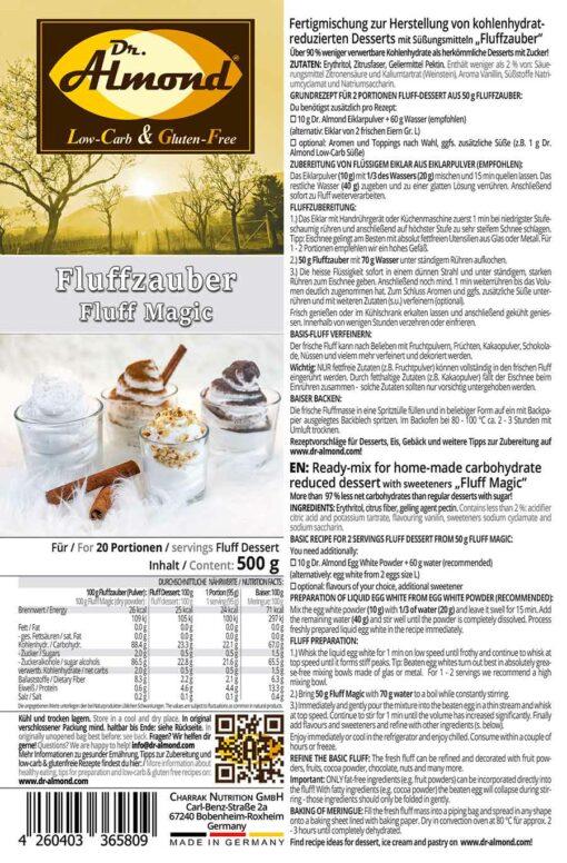 FLUFFZAUBER Fertigmischung für kalorienarmen Eiweiss-Fluff & low carb Baiser – keto, ohne Zuckerzusatz, IMO-frei