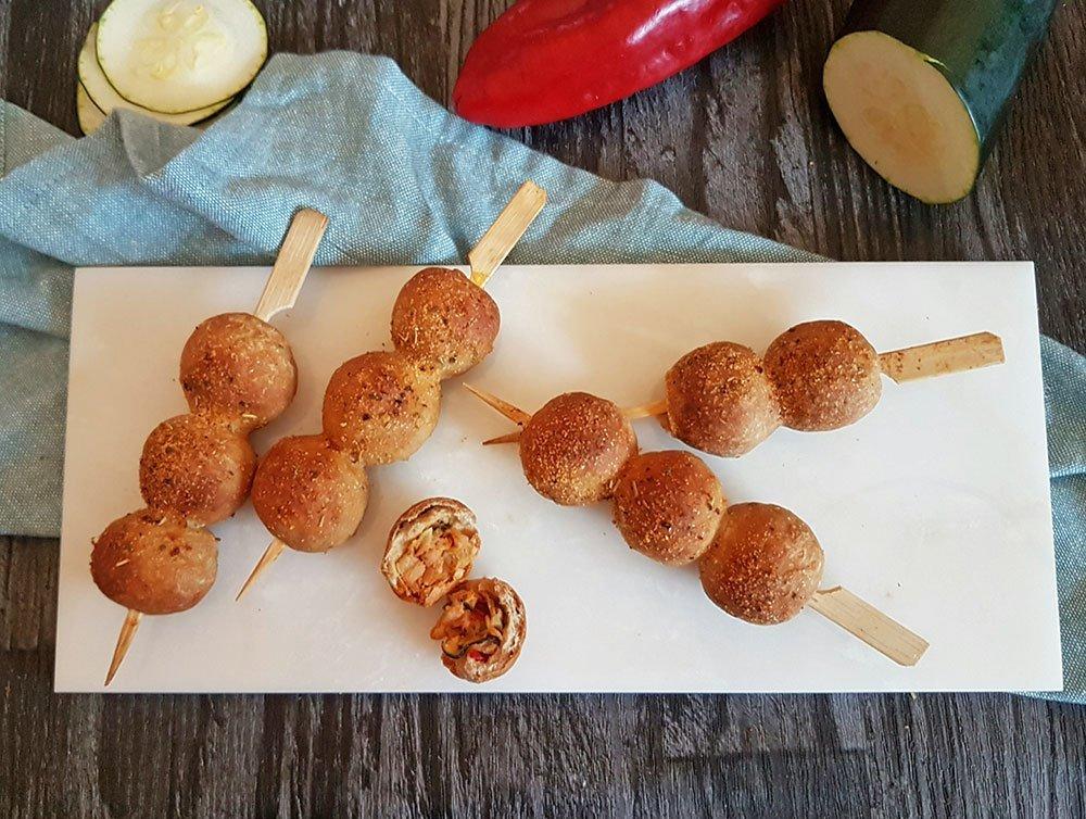 Rezept Gefüllte Brotkugel-Spieße lowcarb glutenfrei