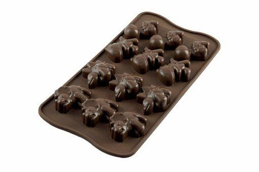 245-00_Silikomart SCG16 DINO Silikonform Pralinenform low carb keto Schokolade