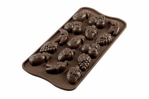 253-00_Silikomart SCG32 CHOCO FRUITS Silikonform Pralinenform Früchte zuckerfrei selbermachen