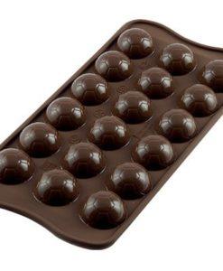 254-00_Silikomart SCG34 CHOCO GOAL Silikonform Pralinenform Schokoladen-Fussbaelle low carb keto Pralinen fuer Maenner