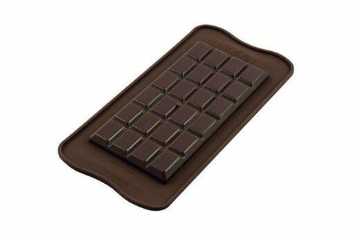 255-00_Silikomart SCG36 CLASSIC CHOCO BAR Silikonform 115x77 H 9 mm Schokoladenform Tafel extra dick 92 ml low carb keto Schokolade