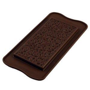 258-00_Silikomart SCG39 COFFEE CHOCO BAR Silikonform Schokoladenform Tafel extra dick mit Kaffeebohnenmuster 86 ml low carb Schokolade keto