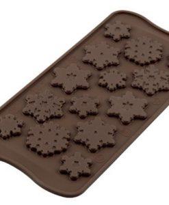 259-00_Silikomart SCG40 CHOCO FROZEN Silikonform Schokoladenform Schneeflocken Kristalle low carb Schokolade keto