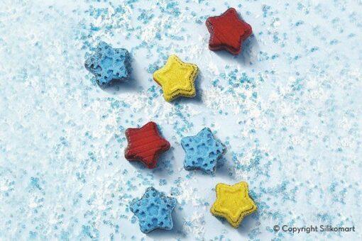 260-00_Silikomart SCG45 WINTER STARS Silikonform Pralinenform Sterne Schneeflocken 105 ml low carb keto Schokolade