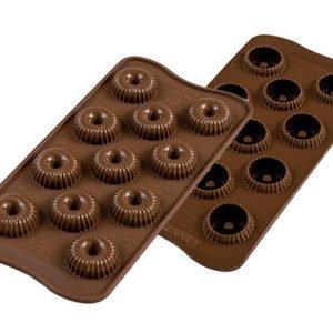 264-00_Silikomart SCG 49 CHOCO CROWN 3D Pralinenform Kranz 99 ml keto low carb Pralinen
