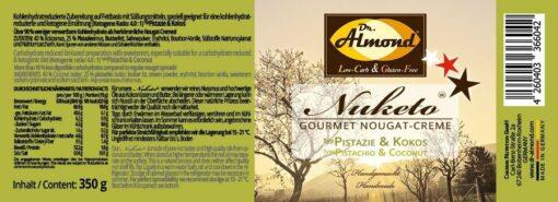 Nuketo PISTAZIE & KOKOS Gourmet Nougat-Creme low carb keto | ohne Zuckerzusatz | ohne Palmöl