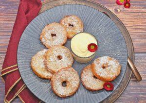 Rezept Gebackene Apfelringe in Joghurtteig lowcarb glutenfrei