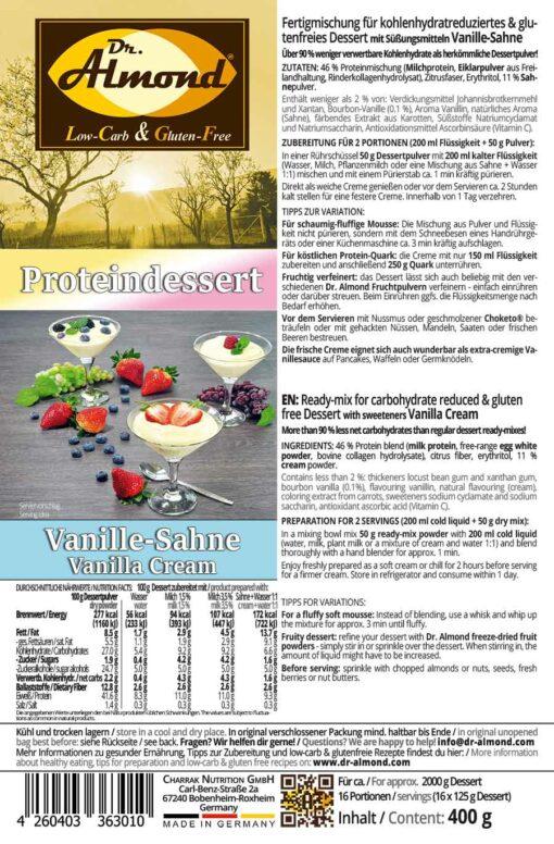 Proteindessert VANILLE-SAHNE Dessertcreme low carb glutenfrei ohne Zuckerzusatz