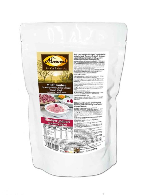 Müslizauber HIMBEER-JOGHURT low-carb Granola Protein Müsli glutenfrei Müslimischung keto LCHF