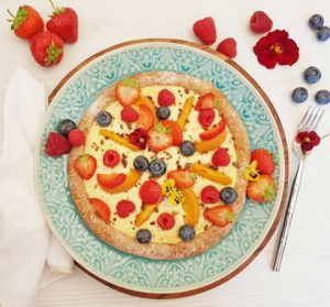 Rezept Früchte Kollagen Pizza lowcarb glutenfrei