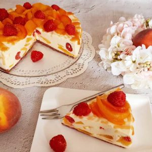 Rezept Pfirsich Melba No bake Cake lowcarb glutenfrei