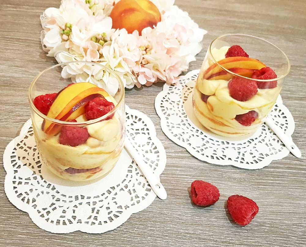 Rezept Pfirsich Melba Protein Dessert lowcarb glutenfrei