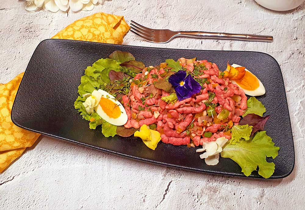 Rezept Rote Beete Spätzle Salat mit gekochtem Rindfleisch lowcarb glutenfrei keto