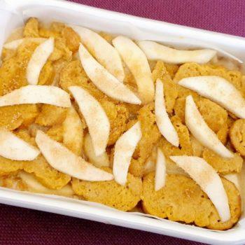 Rezept Birnen Scheiterhaufen mit Rahmguss und Vanillesauce lowcarb glutenfrei